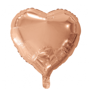 foilballoon heartshape, 18'' - rose gold, bulkpacked
