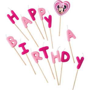 "Happy Birthday"" Toothpick Candles - Minnie Mouse"""