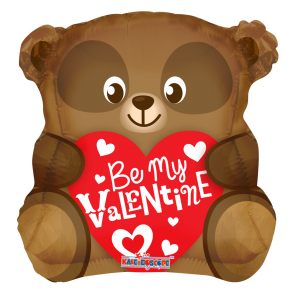 "Foilballoon heart  ,  18""  -  be my valentine bear shape"