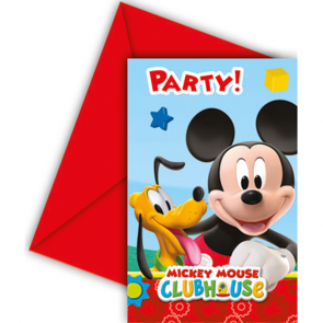 6 Invitations & Envelopes - Playful Mickey