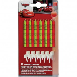 12 candles & 12 holders Birthday Candles  - Cars