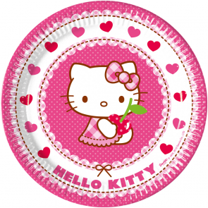 8 Paper Plates Large  23cm - Hello Kitty Hearts