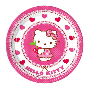 8 Paper Plates Medium  20cm - Hello Kitty Hearts