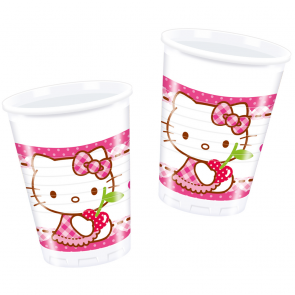8 Plastic Cups 200 ml - Hello Kitty Hearts