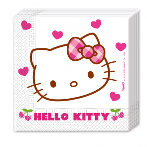 20 Two-ply Paper Napkins 33x33cm - Hello Kitty Hearts