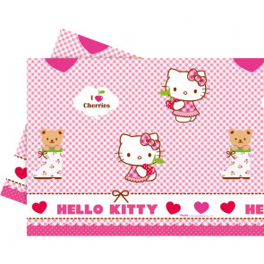 1 Plastic Tablecover 120x180cm - Hello Kitty Hearts