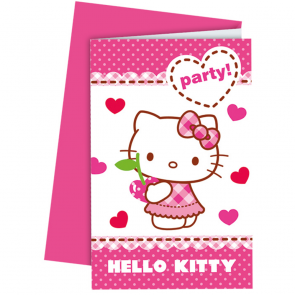 6 Invitations & Envelopes - Hello Kitty Hearts