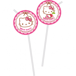 6 Medallion Flexi Drinking Straws - Hello Kitty Hearts
