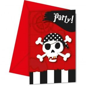 6 Invitations & Envelopes - Pirate's Treasure Map