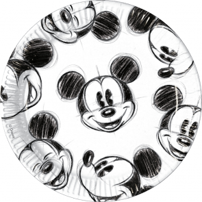 25 Paper Plates Large 23cm - Mickey Faces