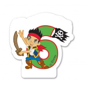 1 Birthday Numeral Candles No 6 - Captain Jake