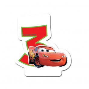 1 Birthday Numeral Candles No 3 - Cars