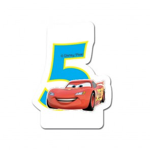 1 Birthday Numeral Candles No 5 - Cars