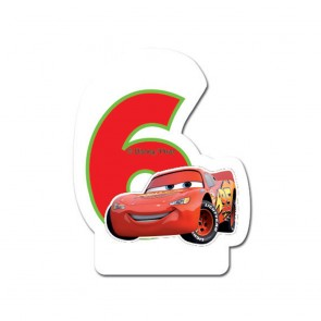 1 Birthday Numeral Candles No 6 - Cars