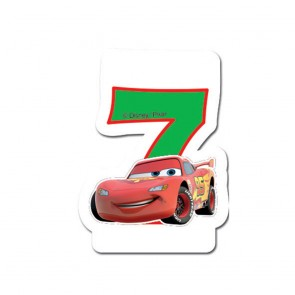 1 Birthday Numeral Candles No 7 - Cars