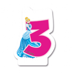 1 Birthday Numeral Candles No 3 - Princess Dreaming