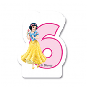 1 Birthday Numeral Candles No 6 - Princess Dreaming
