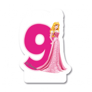 1 Birthday Numeral Candles No 9 - Princess Dreaming