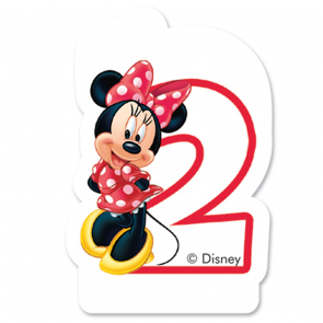 1 Birthday Numeral Candles No 2 - Minnie Mouse