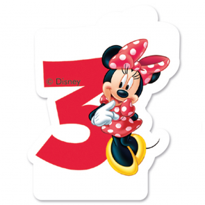 1 Birthday Numeral Candles No 3 - Minnie Mouse