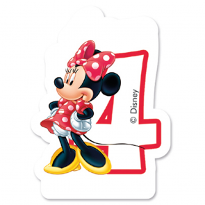 1 Birthday Numeral Candles No 4 - Minnie Mouse