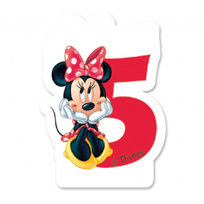 1 Birthday Numeral Candles No 5 - Minnie Mouse