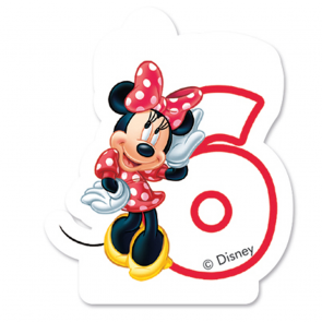 1 Birthday Numeral Candles No 6 - Minnie Mouse