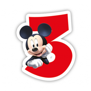 1 Birthday Numeral Candles No 3 - Playful Mickey