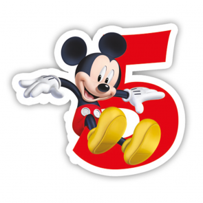 1 Birthday Numeral Candles No 5 - Playful Mickey