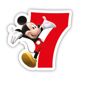 1 Birthday Numeral Candles No 7 - Playful Mickey