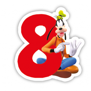 1 Birthday Numeral Candles No 8 - Playful Mickey