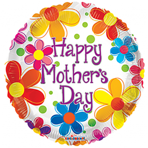 """Foilballoon round  ,  18""""  -  bv mother's day multicolored flowers"""