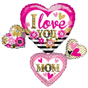 "Foilballoon XL  ,  36""  - I love you mom many hearts"