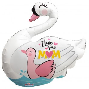 "Foilballoon shape , 28"" - pr I love you mom, swan"