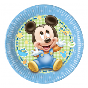 8 Paper Plates Medium 20cm  - Baby Mickey