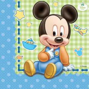 20 Two-ply Paper Napkins 33x33cm  - Baby Mickey