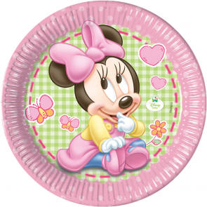 8 Paper Plates  Large 23cm  - Baby Minnie