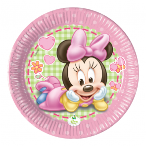 8 Paper Plates Medium 20cm  - Baby Minnie