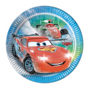 8 Paper Plates Medium  20cm - Cars Ice