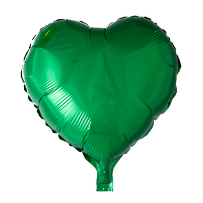 foilballoon heartshape, 18'' - green, singlepacked