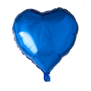 foilballoon heartshape, 18'' - blue, singlepacked