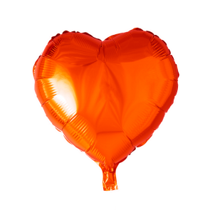 foilballoon heartshape, 18'' - orange, singlepacked