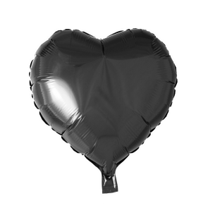 foilballoon heartshape, 18'' - black, singlepacked