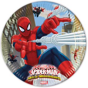 8 Paper Plates  Large 23cm - Ultimate Spiderman Web Warriors