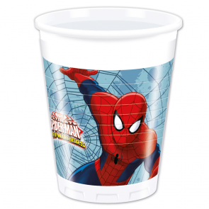 8 Plastic Cups 200 ml - Ultimate Spiderman Web Warriors