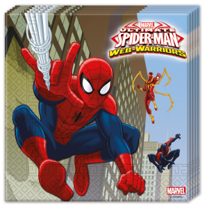 20 Two-Ply Paper Napkins 33x33cm - Ultimate Spiderman Web Warriors