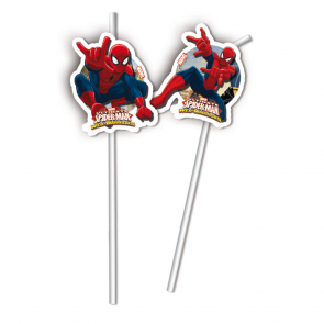 6 Medallion Flexi Drinking Straws - Ultimate Spiderman Web Warriors