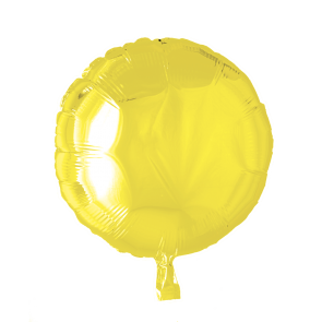 Foilballoon round, 18'' - yellow, singlepacked