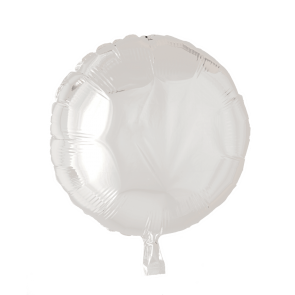 Foilballoon round, 18'' - white, singlepacked