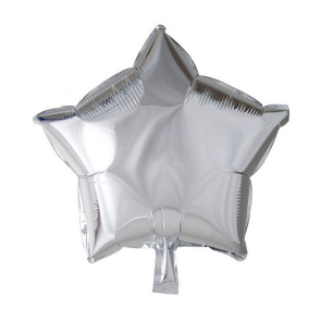 Foilballoon star, 18'' - silver, singlepacked